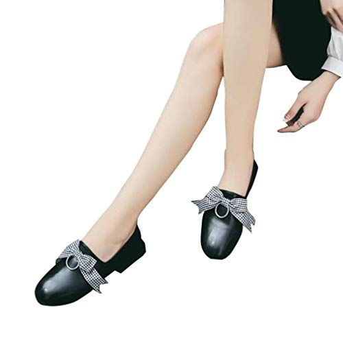 City Adventure Casual Oxford - Women Round Toe Casual Oxfords Thick Low Heel Butterfly-Knot Leather Slip On Comfy Flats Loafers Shoes Black