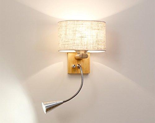 Lampada da parete moderna da comodino applique in legno con lampada