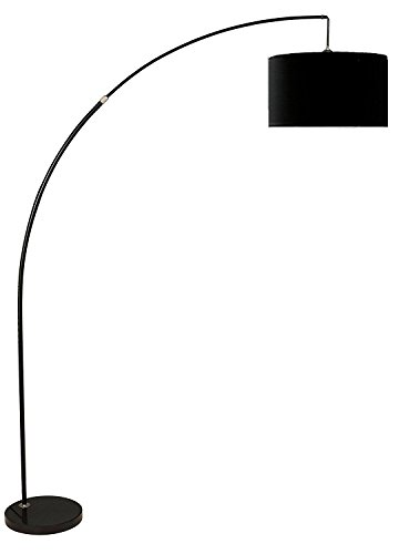 Major-Q 6931BK 81'' H Steel Adjustable Arching Floor Lamp with Marble Base, Extra Large, Black by Major-Q