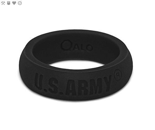 QALO Women's Black U.S. Army Classic Q2X Silicone Ring, Size 7
