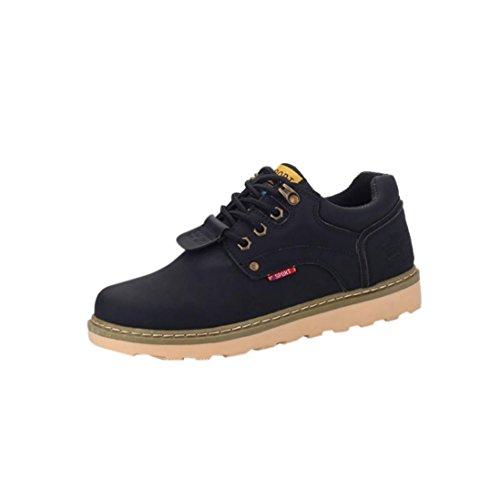 Sky Zapatos de Los Hombres Ocasionales Grandes Zapatos Redondos Bajos Casual Lace Up Leather Shoes (39, Negro)