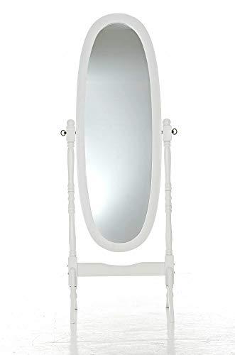CLP Specchio Autoportante Cora in Legno | Specchio da Terra Ovale con Cornice Specchio Figura Intera 150 x 50 cm | Specchio Lungo Orientabile Camera da Letto Nero