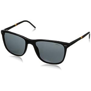 Polo Ralph Lauren Men's Ph4064 Square Sunglasses,Shiny Black,54 mm