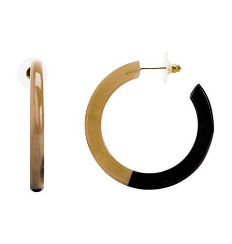 Mela Artisans MAER134 Bomba Hoop Earrings, Black Hoop Earrings : Accessories Accessories