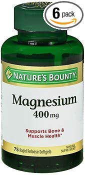 Nature's Bounty Magnesium 400 mg Mineral Supplement Rapid Release Softgels - 75 ct, Pack of 6 ()