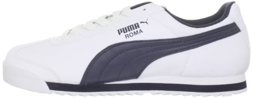 PUMA Men's Roma Basic Fashion Sneaker, White/New Navy - 14 D(M) US