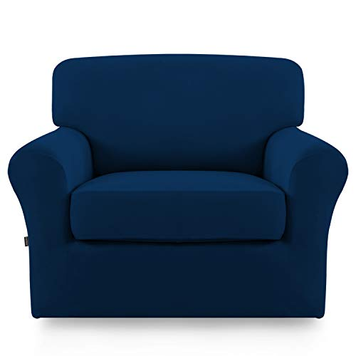 Stretch Sofa Slipcover,2-Piece Sofa Cover Furniture Protector Couch Micro Fiber Super Soft Sturdy with Elastic Bottom Pets,Kids,Children,Dog,Cat(Chair,Navy)