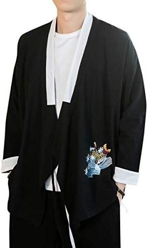 メンズ カーディガン 羽織り 和式パーカー リネン カジュアル 開襟シャツ 刺繍 大きいサイズ 春 夏