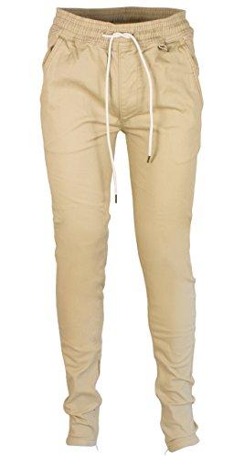 Khaki Ankle Pants (Kayden K Men's Tapered Zipper Ankle Jogger Pants (M, Khaki))