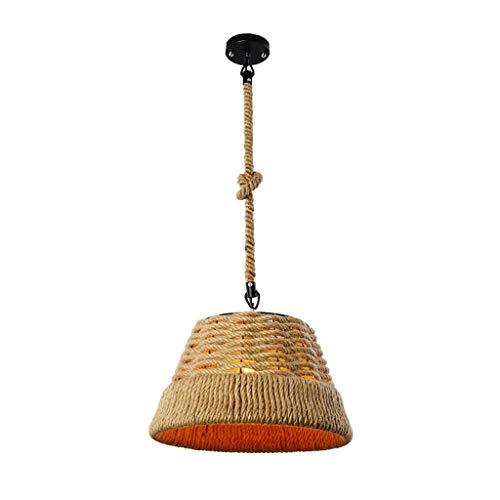 (XHJJDJ Retro Land-Art Pendant Lamp Ceiling Lamp Single Head Hemp Rope Lamp Shades Chandelier Vintage Creative Straw Hat Design Iron Art Hanging Lamp Living Room Bedroom Dining Room Chandelier E27)