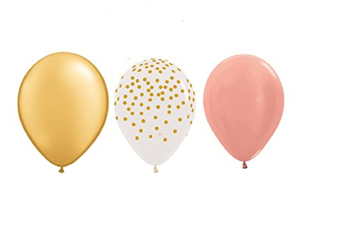15-new-11-inch-balloons-party-rose-gold-clear-with-gold-dots-gold-wedding-favors-prom-shower-birthda