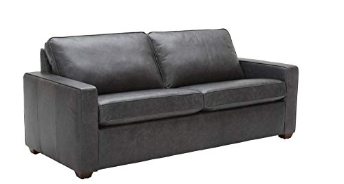 Rivet Andrews Contemporary Top-Grain Leather Sofa with Removable Cushions, 82'W, Black