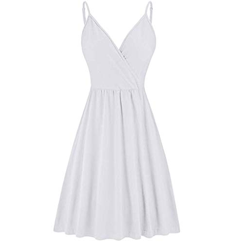 HebeTop ◕‿◕ Women's V-Neck Solid Color Strap Summer Casual Swing Dress White
