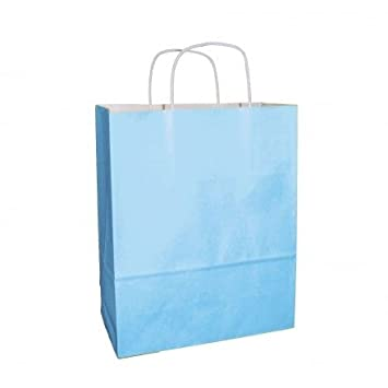 light blue paper bags with handles