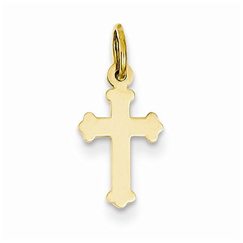 14K Yellow Gold Small High Polish Finish Cross Charm Pendant (High Gold Small Polish)