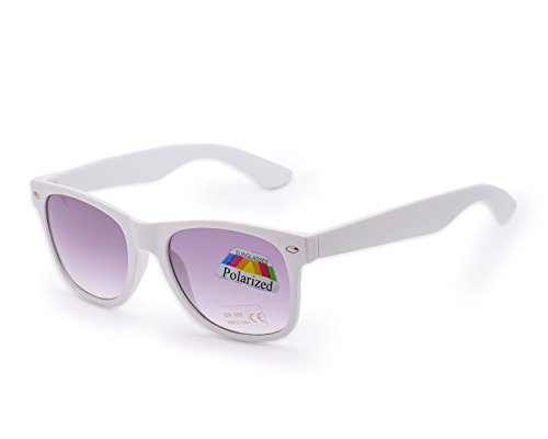 White Polarized Women Men Classic Unisex Retro Vintage Aviator Polarized Sunglasses