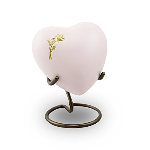 OneWorld Memorials Aria Rose Brass Cremation Keepsake Heart - Extra Small - Holds Up To 3 Cubic Inches of Ashes - Pink - Custom Engraving Included (Antique Urn Rose)