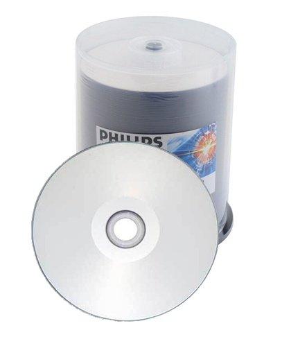 100 Philips 16X DVD-R 4.7GB Silver Inkjet Hub Printable by Philips
