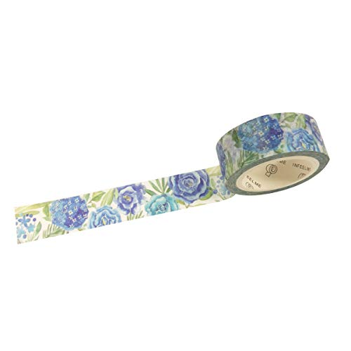 Wrapables A71325c Flowers and Greens Masking Tape, 15mm x 7m Blue Roses Washi,