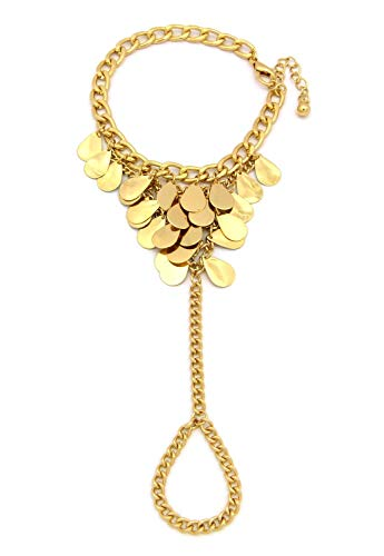 NYFASHION101 Teardrop Metal Flakes Link Chain Anklet Toe Ring in Gold-Tone JB2017GD