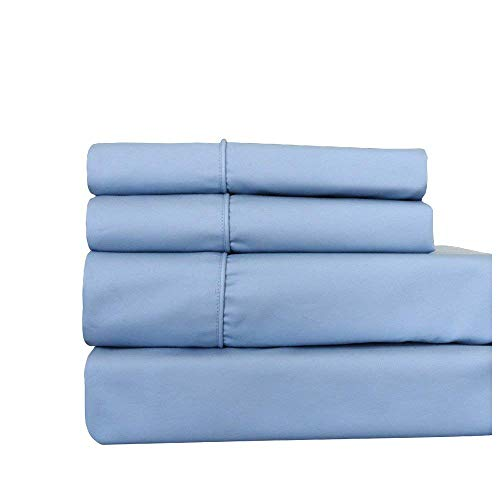 Royal Hotel Queen Blue Cotton-Blend Wrinkle-Free Sheets 650-Thread-Count Sheet Set
