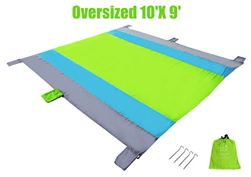 Exclusivo Mezcla 9'x 10' Extra Large Portable Outdoor Beach Blanket/Mat(Green)- Sand Free, Waterproof& Quick Dry for Picnic, Camping and Hiking| 6 Weightable Pockets and 4 Anchor Stakes