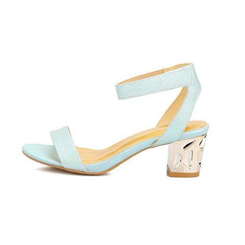 Kitten punta de Solid Sandalias AllhqFashion Sandalias de Toe abierta Blue Heels H4w5q5SY