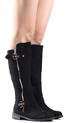 LUSTHAVE Women's MG23 Knee High Boots - Winkle Back Shaft - Side Quilted Zipper - Flat Accent Riding Boot Black SU 10