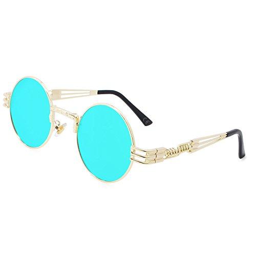 Vendimia Sol Gafas Redondo Azul de Marco Marco Lente Hielo Dorado Gafas de Metal de Steampunk AMZTM fHqTXT
