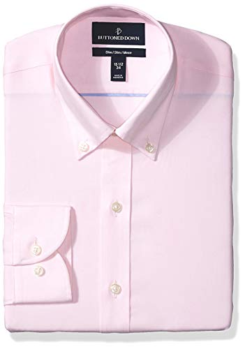 BUTTONED DOWN Men's Slim Fit Button Collar Solid Non-Iron Dress Shirt, Light Pink/no Pockets, 15.5