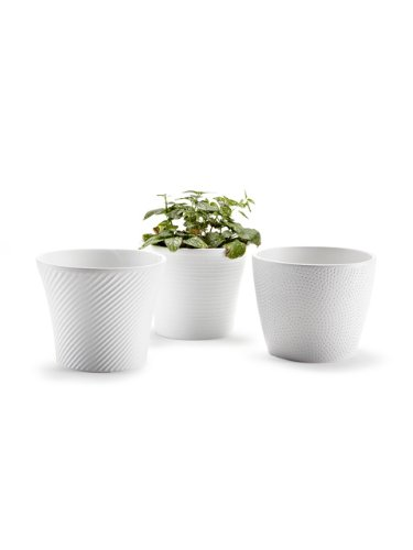 Amazon set of 3 pieces 45 ceramic embossed small white flower set of 3 pieces 45quot ceramic embossed small white flower pots planters mightylinksfo