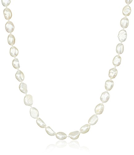 Sterling Silver 6-7mm White Rice Freshwater Cultured Pearl Necklace 32'' by Amazon Collection