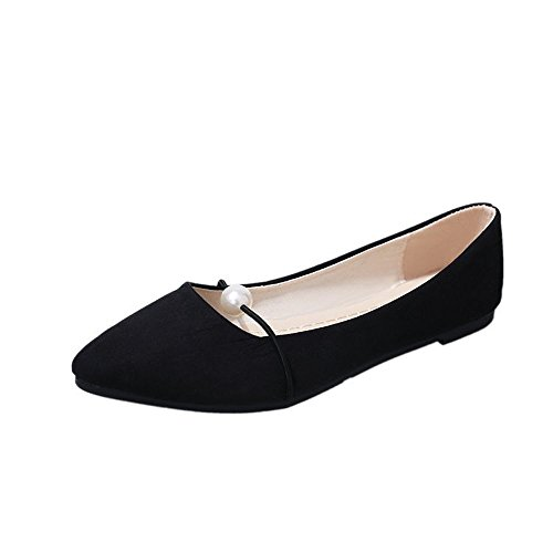 Women's Solid Color Suede Flat Heel Pearl Flat Heel Pointed Casual Shoes Black (Patent Guess Sandals Leather)