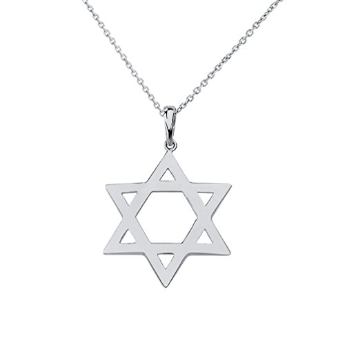 14k White Gold Jewish Charms - Polished 14k White Gold Simple Jewish Charm Star of David Pendant Necklace, 18