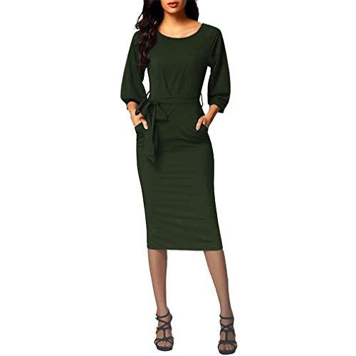 Manches Ceinture Et Robe Longues Crayon YUCH Femmes Hiver Green Automne Jupe Taille XzU5xqwx