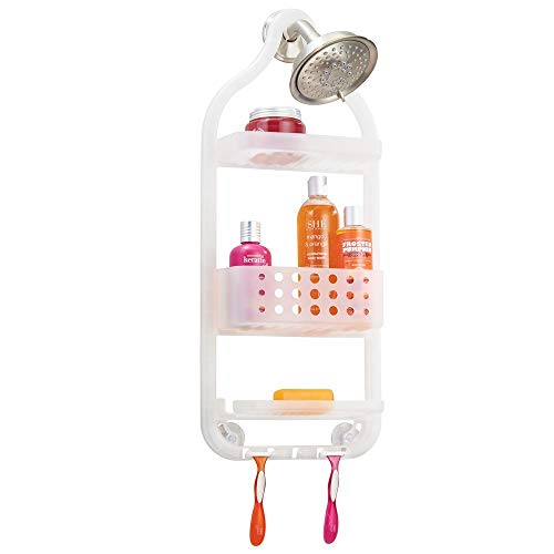 mDesign Plastic Bathroom Tub and Shower Caddy, Hanging Storage Organizer Center - 5 Hooks, 2 Razor Slots, 3 Basket Trays - Bathroom Shower Stalls, Bathtubs - Clear Frost