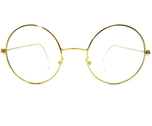 d68bc8906cd Agstum Retro Round Optical Rare Wire Rim Eyeglass Frame 48mm (Gold ...