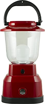 GE Enbrighten Lantern with USB Charging, 550 Lumens, 200 Hrs Battery Life, IPX4 Water Resistant, Red, 29923