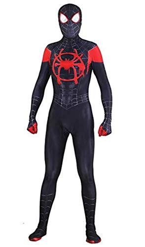 Unisex Lycra Spandex Halloween New into The Spider Verse Miles Morales Cosplay Costumes Adult/Kids 3D Style Black]()