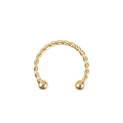 (Crookston 16G Stainless Steel Horseshoe Bar Lip Nose Septum Ear Ring Stud Piercing | Model RNG - 3073 | 10mm Gold Color )