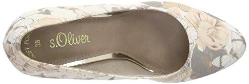s.Oliver 22409, Chaussures à talons - Avant du pieds couvert femme Beige - Beige (Beige Flower 407)