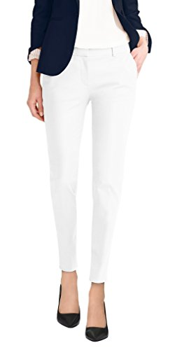 (HyBrid & Company Super Comfy Womens Flat Front Stretch Trousers Pants PW31200TT White 3)