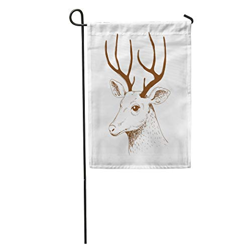 Semtomn Garden Flag Animal Head of Deer Sketch Doodle Drawing Farm Forest Herbivore Home Yard House Decor Barnner Outdoor Stand 28x40 Inches Flag