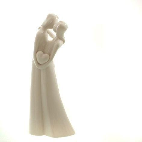 DIO Hochzeitsgeschenk Dekofigur Liebespaar Porzellan weiß glasiert 9,5x5,5x23 cm