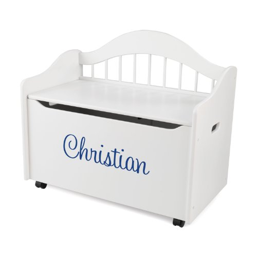 KidKraft Personalized Limited Edition Toy Box White with Blue Script,Christian by KidKraft