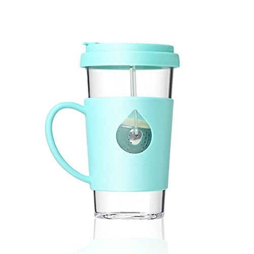 Single Cup Loose Leaf Tea Infuser with Fun Duckling Design, Made with Glass and Silicone - 12.5oz, 370ml (Blue)