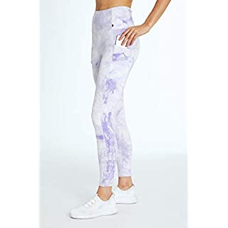 Marika Cyndi High Rise Pocket Ankle Legging, Tie Dye Marble Pastel Lilac, Small