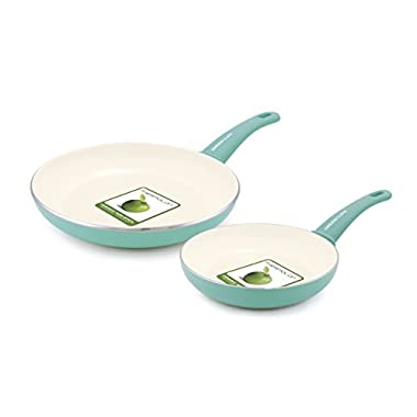 GreenLife 2 Piece Non-Stick Ceramic 7 Inch and 10 Inch Fry Pan Set with Soft Grip, Turquoise