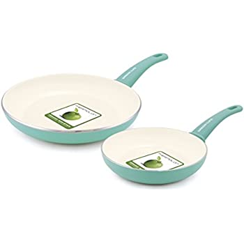 """GreenLife Soft Grip Ceramic Non-Stick 7"""" and 10"""" Open Frypan Set, Turquoise"""
