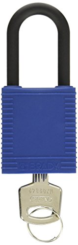 Brady 123352 Blue Nylon Shackle Safety Padlocks, 1-3/4